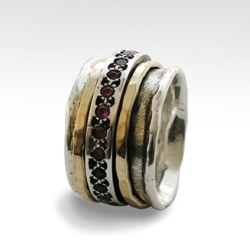 Solid 925 Sterling Silver Ruby Wide Band Handmade Spinner Mediation Ring