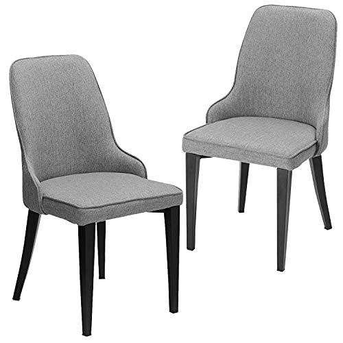 DICTAC Esszimmerstühle 2er Set, Küchenstuhl Polsterstuhl Leinen Stuhl Wohnzimmerstuhl grau Stoff Stuhl Esszimmer mit Rückenlehne 7,5 cm Schwamm schwarz Metall stuhlbeine belastbar 200kg