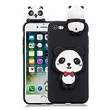 Finemoco Funda para iPhone SE 2020/iPhone 7/iPhone 8 Funda Silicona TPU Suave Carcasa para iPhone SE 2020 3D Panda Funda Dibujos Animados Diseño Case Antigolpes Anti-Caídas Protección Caso Cover,Negro