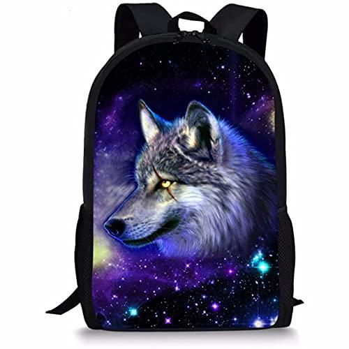 Wolf Mochila para niños y niñas Galaxy Star School Book Bag personalizado con impresión animal