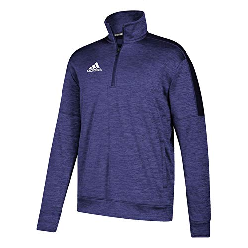 adidas Athletics Team Issue 1/4 Zip Long Sleeve, Collegiate Purple Melange/White, Small