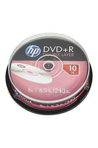Hewlett Packard DVD+R doppio strato 8x, 10 pezzi in cake box