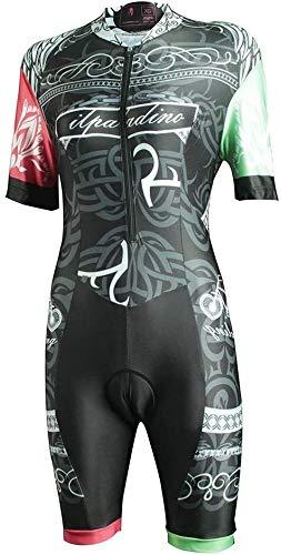 Samanthaa Traje de triatlón de manga corta para mujer, traje de triatlón, traje de una pieza, para ciclismo, kit de ropa de manga corta para verano (color: negro, talla: L)