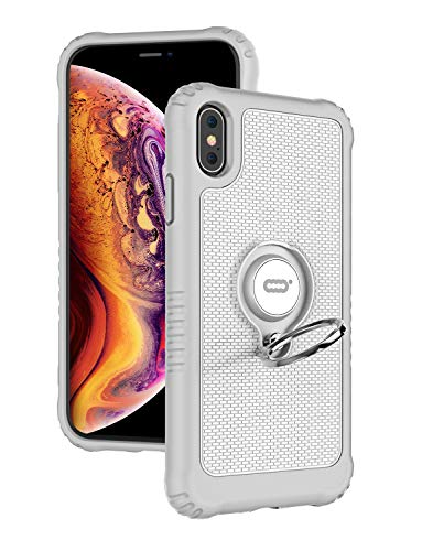 ICONFLANG Compatible Phone Case for iPhone Xs Max 6.5' with Ring Kickstand 360 Degree Rotating Drop Airbag Protection Shock Absorption Case [Compatible Magnetic Car Mount case] (White)