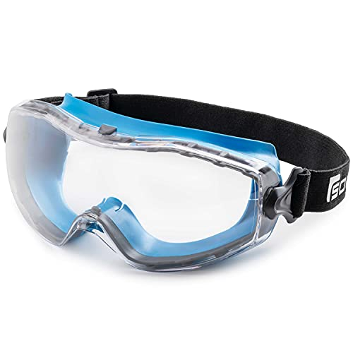 Solid. Safety Goggles that fits perfectly | Protective eyewear with anti-fog, anti-scratch and UV-protection lenses | Ideal for wearing as safety glasses over glasses | Clear lens | Blue
