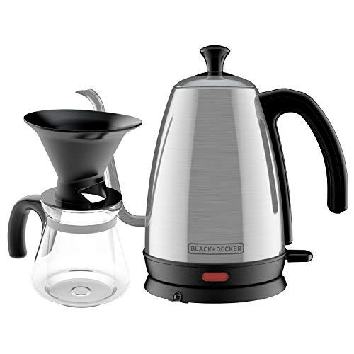Black+Decker KE3000S-KIT Gooseneck Kettle, Pour Over Coffee Kit, Stainless Steel, 1 L