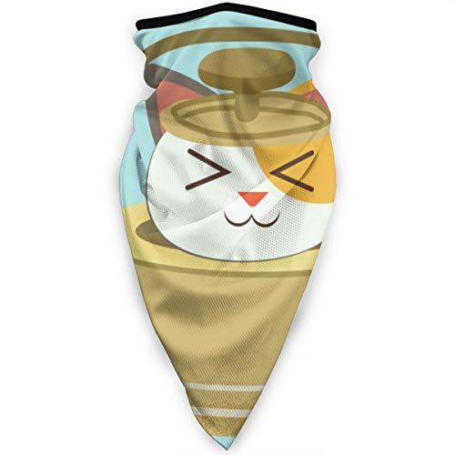 Qing_II winddichte Gesichtsmaske Bandana Charakter niedliche Katze sitzend gelb Teekanne Stirnband multifunktionale Kopfbedeckung Outdoor Sonnenschutz Sturmhaube