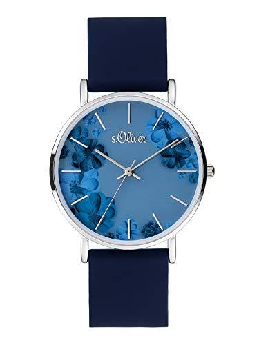 s.Oliver Damen Analog Quarz Uhr mit Silicone Armband SO-4077-PQ