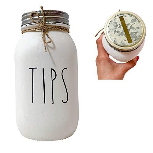TIPS, White, Painted and Distressed Mason Jar Tip Jar for Money Restaurant, 32 oz. Regular Mouth Mason Jar with Coin Slot, Quart Size, Painted Mason Jar, Bartender, Salon Tip Jar with Lid, Glass