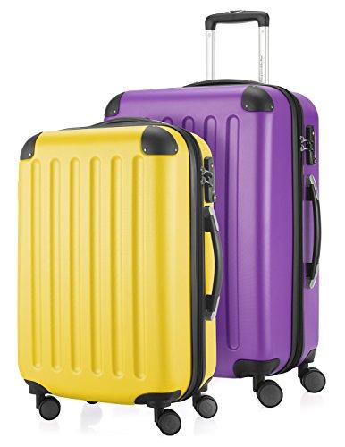 HAUPTSTADTKOFFER - Spree - 2er Koffer-Set Hartschale Matt, TSA, 55 / 65 cm, mit Volumenerweiterung, Gelb-Aubergine