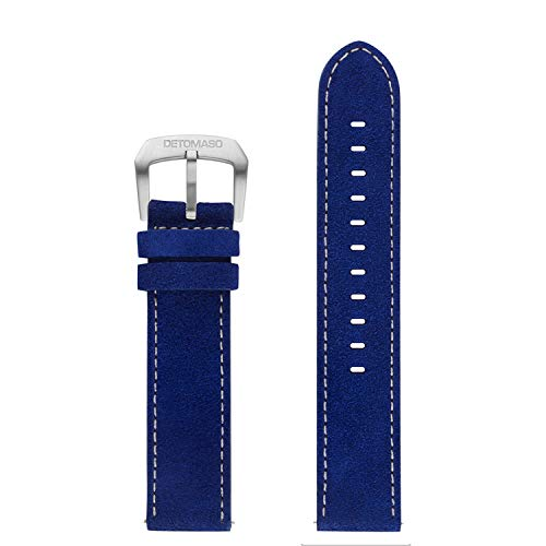 DETOMASO echtes italienisches Uhrenarmband aus Leder 22mm (Leder - Blau)