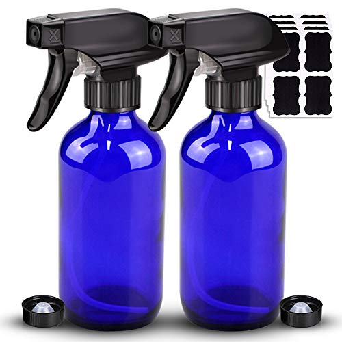 2 Pack Glass Spray Bottle, Wedama Amber 8oz Glass Spray Bottle Set & Accessories for Aromatherapy Facial hydration Watering Flowers Hair Care