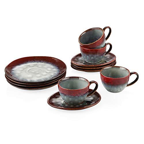 vancasso Starry Set da caffè Servizi da caffè 12 Pezzi con 4 Piatti da Frutta 4 Tazzine 4 Piattini per 4 Persone Servizio di Tazze da caffè in Porcellana Colore Vintage Rosso