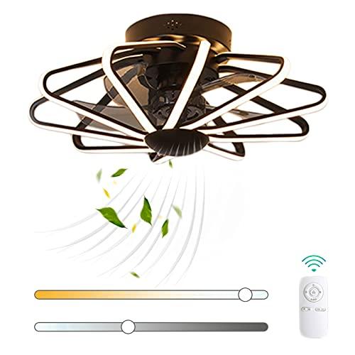 VOMI Mando a Distancia Ventilador de Techo con Luz 112W LED Regulable Luz del Ventilador Moderno Silenciar Metal Ventilador 3 Velocidades de Viento Ajustables Creatividad Decoración para Cuarto
