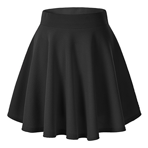 Urban CoCo Women's Basic Versatile Stretchy Flared Casual Mini Skater Skirt (Medium, Black)