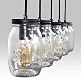 ZPKelin ZP-C0017 Glass Mason Jar Hanging Lamp 5-Light Linear Chandelier, Transparent