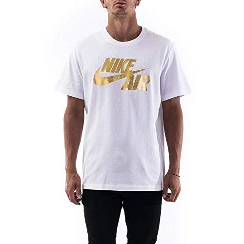 Nike M NSW Ss Tee Preheat Air T-Shirt für Herren S White/Gold Foil