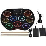 Almohadilla de batería electrónica, Juego de batería Enrollable de Silicona portátil, Instrumento de percusión para Principiantes Adultos Enrollado a Mano de Colores(Vistoso)