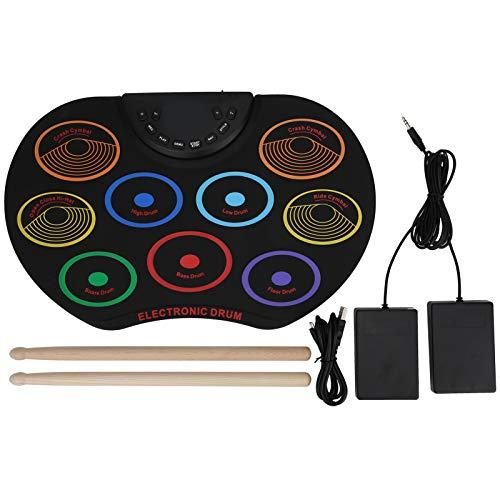Tamburo elettronico portatile Pad tamburo arrotolato a mano per bambini Regalo per strumenti musicali per principianti(Colorful)