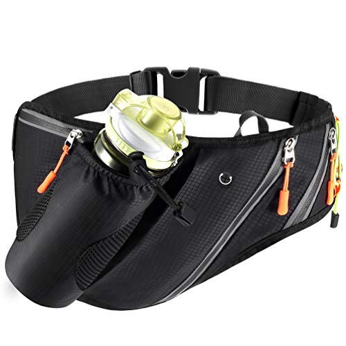 VBIGER Waist Bag Hiking Fanny Pack Running Waist Bag Running Waist Pack Water Bottle Holder Fanny Pack with a Dog Leash for Men Woman Running, Hiking, Cycling Fit iPhone6/6s Plus/7 Plus, Black