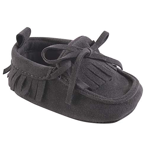 Hudson Baby Unisex Baby Moccasin Shoes, Charcoal, 0-6 Months