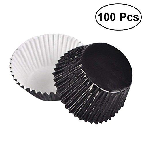 ULTNICE Lot de 100 caissettes à muffins en aluminium épais Noir