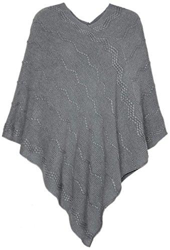 dy_mode Eleganter Damen Poncho Damen Pullover Strickponcho im dezenten Strick-Muster - OneSize - PJ020 (PJ018-Grau - One Size Gr.36-40)