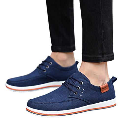 FACAIAFALO Zapatos Planos De Lona Para Hombre Casual Zapatillas Deportivas Running Sneakers Corriendo Transpirable CóModos Suaves Y Livianos Calzado Cierre De Cordones