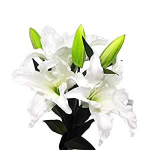 Meide Group USA 30″ Long XLarge Real Touch Easter Tiger Lily Artificial Spring Flowers (3 pcs)