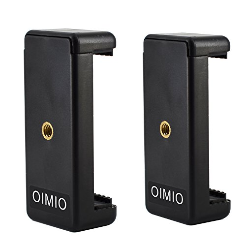 Universal Cell Phone Tripod Mount Adapter, OIMIO Phone Holder Clip Connector Head Used for Monopod Selfie Stick DSLR Travel Mini Flexible Tripod and More(2 Pack)