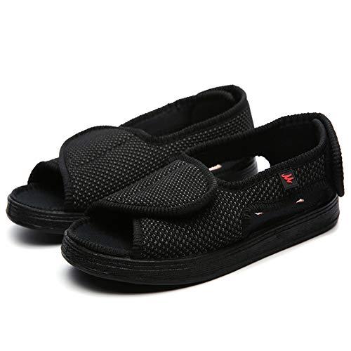 Willsky Zapatos diabéticos para Hombres, Espuma de Memoria Zapatillas para diabéticos Unisex Punta Abierta Ancho Ajustable Velcro Cómoda Artritis Edema Zapatos hinchados de la casa,Black,38