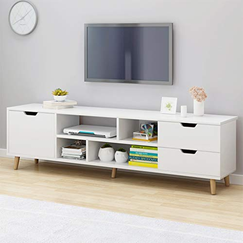 Naano 【US Rapid】 Modern TV Stand with Drawers and Cabinet Minimalist Furniture Bedroom Living Room Storage Shelves White European Nordic Style (White)