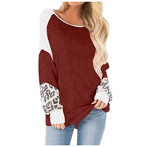 Sweatshirt dames oversize casual shirt met lange mouwen ronde hals uitsnijding luipaardpatroon druk lange mouwen goedkope stijlvolle trui top T-shirt