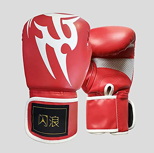 Professionelle Boxhandschuhe für Erwachsene Kampfspiel Training Boxing Pu Boxsack Handschuhe Handschuhe (rot, 12 oz)