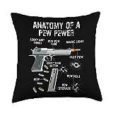 Funny Ammo Gun Lovers Saying Gun Owner Gift Ideas Funny Anatomy Of A Pew Pewer - Ammo Gun - Amendment Saying Throw Pillow, 18x18, Multicolor