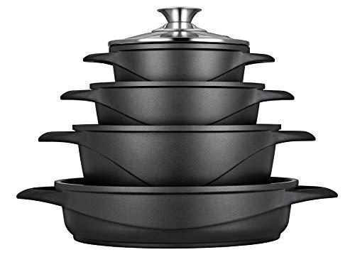 SMILE MGK17 - Batería de Cocina Inducción 8 piezas, Aluminio Fundido, 4 ollas, Tapas de Vidrio Templado, Revestimiento Antiadherente, Apta Para Todo tipo de Cocinas, Libre PFOA