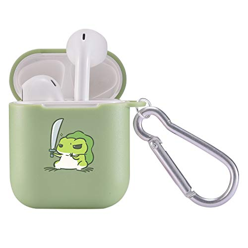 MAYCARI Süßer Frosch Hülle Matcha grün mit Schlüsselanhänger für Airpods, Cartoon-Tiermuster, voller Schutz, stoßfest, weiche TPU-Hülle für Apple Airpods 2 und 1