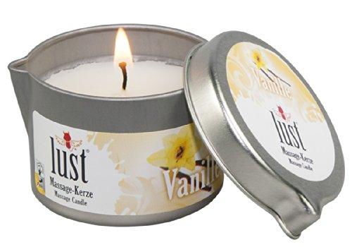 Lust Massagekerze Vanille - verführerische Massagekerze für sie und ihn, Kerzenwachs schmilzt zu Massagebalsam, Massagelotion auf Kokosölbasis