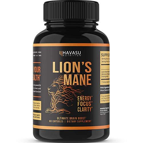 Havasu Nutrition Lion's Mane Mushroom Capsules - Energy Boosting, Brain Booster Mushroom Supplement - 1000mg, Non GMO - Stress Relief, Immune System Booster - Wellness Formula, 60 Capsules