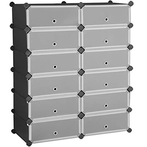 Songmics - Zapatero de 12 compartimentos para 24 pares, organizador de zapatos de plástico con puertas, almacenamiento modular rectangular para cubos, para entrada, pasillo, ropero de pasillo, 32,7 x 12,2 x 41,3 pulgadas, color negro ULPC026B02