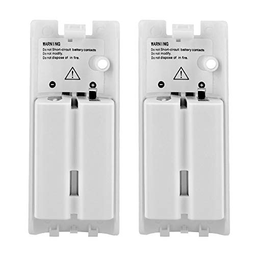 Wii Batteries Pack Rechargeable for Wii Controller, 2 Pack Rechargeable Batteries for Wii/Wii U Remote Controller -White