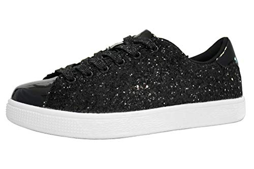 LUCKY STEP Glitter Sneakers Lace up | Fashion Sneakers | Sparkly Shoes for Women (11 B(M) US,Black)