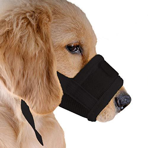 Bozal para perro LIUSHUI, ajustable, transpirable, suave, para evitar que ladre y mastique, negro, Medium