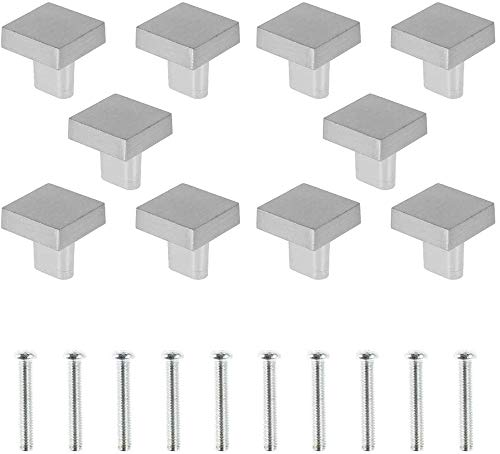 Maniglie per Mobili da 25 mm, Pomelli per Cassetti Moderni Quadrate,per Cassetti Armadio Credenza con Viti (Argento)