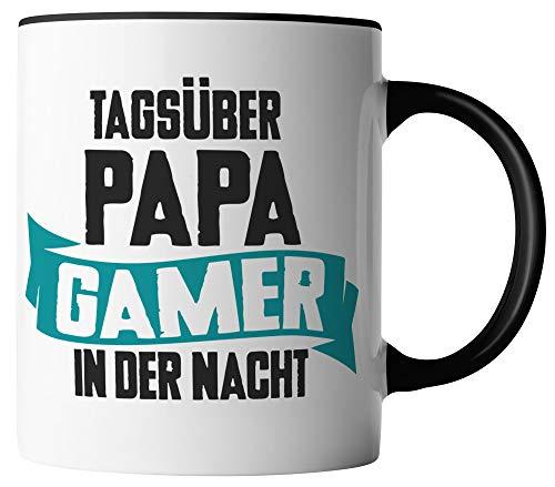vanVerden Tasse - Tagsüber Papa Gamer in der Nacht - Gaming Gamer Console eSport Vater - beidseitig Bedruckt - Geschenk Idee Kaffeetassen Spruch, Tassenfarbe:Weiß/Schwarz