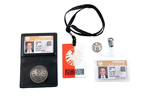 Agents of S.h.i.e.l.d Shield Badge Holder Kits Phil Coulson 's 2 Karten mit Gratis Coin Cosplay Sets