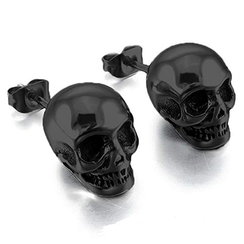 BlackAmazement 2er Set 316L Edelstahl Ohrstecker Totenkopf Skull Piercing Studs silber schwarz Biker Herren (Schwarz)
