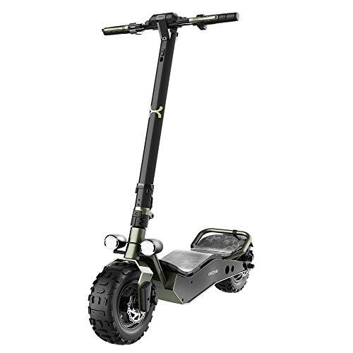 """Cecotec Patinete eléctrico Bongo Serie Z Off Road Green. Potencia máxima de 1100 W, Batería extraíble, autonomía ilimitada hasta 40 km, tracción Trasera, Ruedas antirreventón de 12"""""""