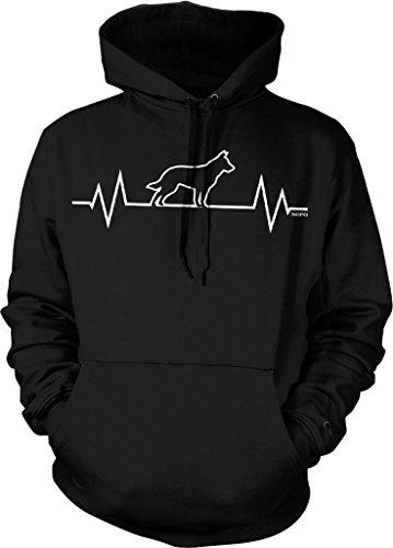 NOFO Clothing Co German Shepherd Heartbeat, I Love Dogs Hooded Sweatshirt, L Black