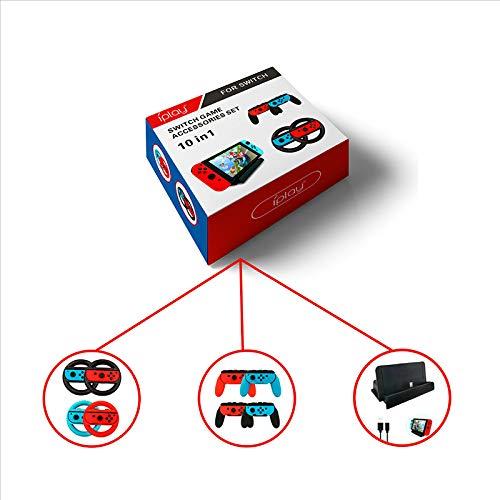 Sxgyubt 10-in-1 Spielzubehör-Set, Lenkrad-Controller-Griffe, USB-Typ-C-Kabel-Ladestation, 10 in 1, One size